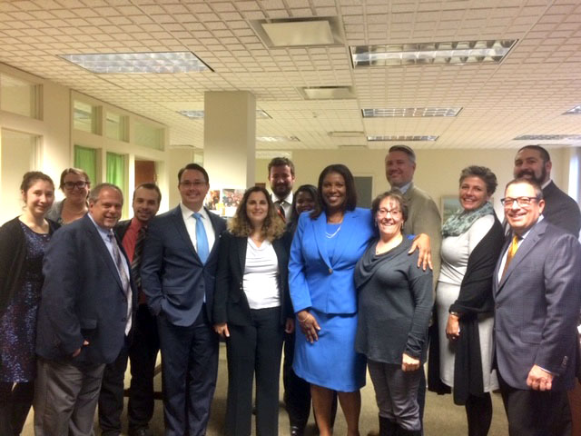 Tish James visits Shenker Russo and Clark