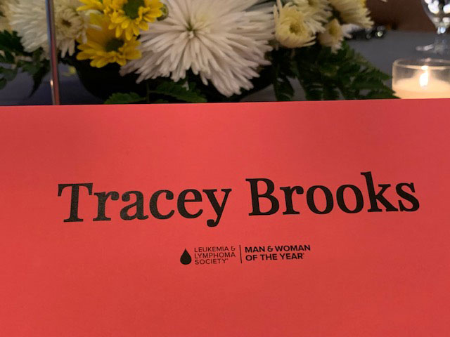 Name placard for Tracey Brooks